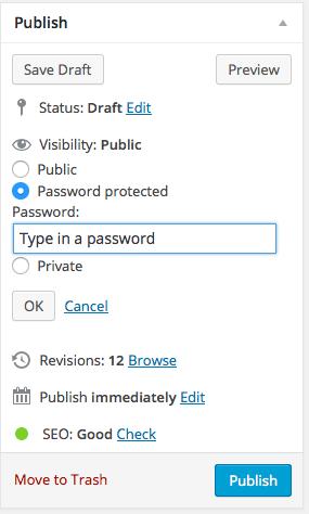 password protect WordPress page