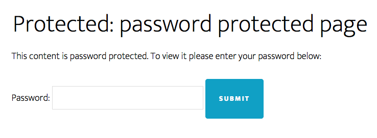 password protected WordPress post